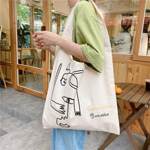 Personality Thin Canvas Bag With Interesting Lines Students Use Tutorial Bag Lovely Spring And Summer Portable Reusable Bag