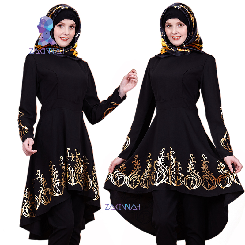 ZK009 Muslim Middle East Hot Stamping Top Gilded Printing Women's Clothing Solid Color Ramadan Islamic Abaya 2pieces/lot