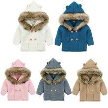 Новинка года, модный детский свитер, пальто милое вязаное пальто с капюшоном и меховым воротником для малышей осенне-зимняя теплая одежда для маленьких мальчиков и девочек