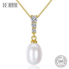 DOTEFFIL New 8-9MM Pearl 925 Silver Necklace Pearl Pendant  Chain Natural Freshwater Pearl Fine Jewelry Link Women Gift Party [daimi] grey color pearl necklace 160cm long sweater chain natural pearl long necklace 8 9mm rice pearl beach style 2017 new