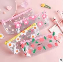 1 Pcs Pencil Case Simple pencil pouch transparent School Box Pencilcase Bag Supplies kawaii Stationery