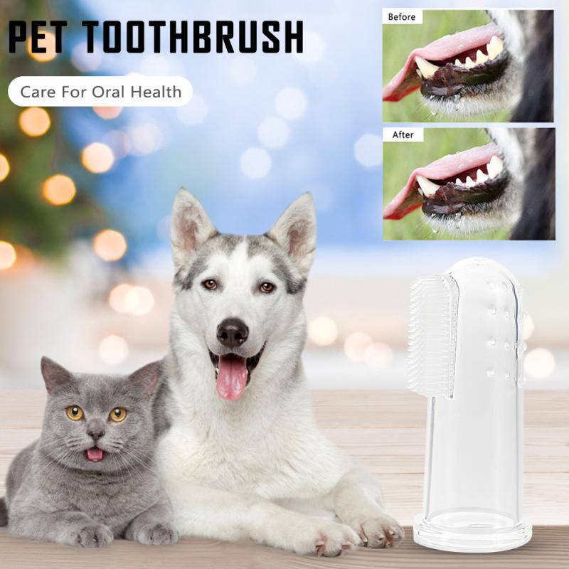 1 Pcs New Hot Selling Super Soft Pet Finger Toothbrush Teddy Dog Brush Bad Breath Tartar Teeth Tool Dog Cat Cleaning Supplies