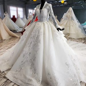 Image 3 - HTL1028 wedding dress long sleeve lace top 2020 v neck appliques sequined white women wedding gown with train vestidos de noiva
