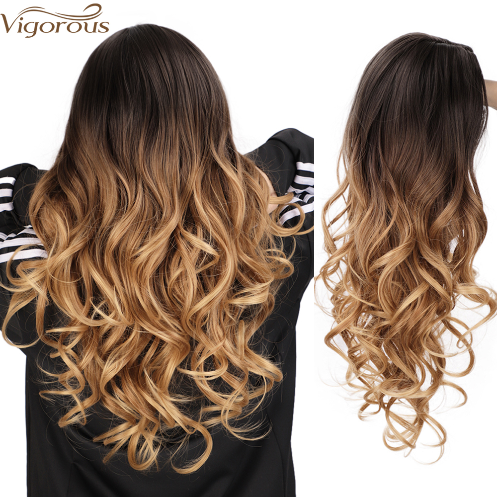 Vigourous Synthetic Wig for Women Long Omber Brown Blonde Wavy Wigs Natural Middle Part Daily Wig Heat Resistant Fiber Hair