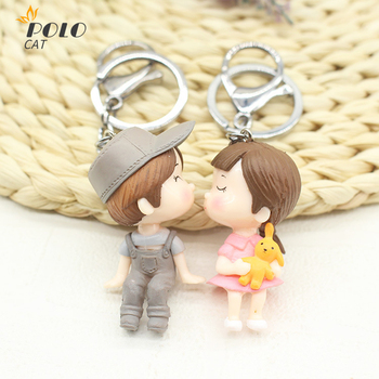 Lovely Cartoon Doll Couple Key Button Men and Women a pair of Car Hanging Bag Accessories Creative Gift Cute Keychain Boy Girl 2019 fashion dog car keychain animal couple lovely keychain car keyring gift for girl women and men jewelry anime keychain