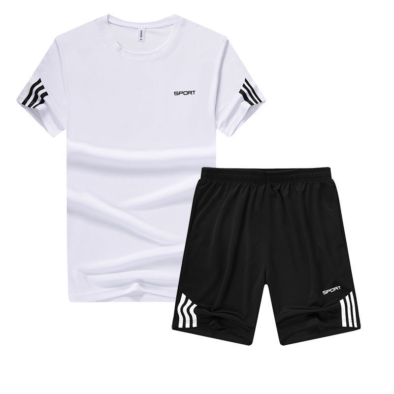 Casual Sports Clothing Set Men's 2019 Summer Fashion Youth Breathable Sweat Absorbing Casual Two-Piece Set