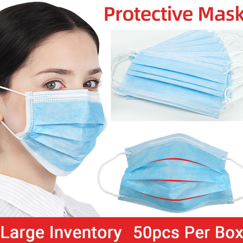 50Pcs/100pcs Mask Disposable Nonwove 3 Layer Ply Filter Mask Mouth Face Mask Filter Safe Breathable Protective Masks In Stock
