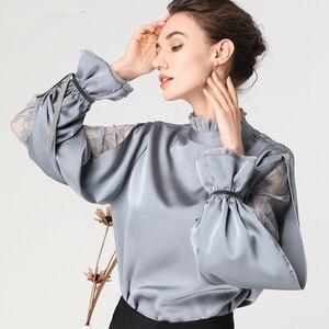 Image 2 - Satin Frauen Bluse Stehen Rüschen Kragen Split Spitze Hülse Lose Plus Größe Damen Tops Mode Neue 2019 Weibliche Tops Und blusen