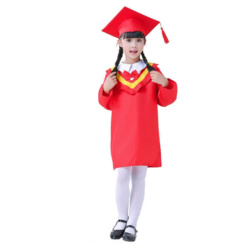 ילדים סיום שמלת ילדי רווקים תלמידי תלבושות אחיד בנות שמלת סט עם כובע תינוק ביצועי בגדים