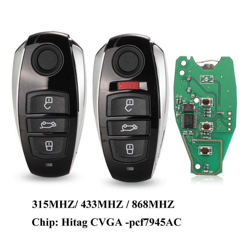 Jingyuqin For VW Volkswagen Touareg 2010-2014 HitagCVGA PCF7945AC Chip 315Mhz 433Mhz 868Mhz Smart Remote Car Key Fob 3/4 Buttons