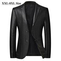 Мужская кожаная куртка размера плюс 6XL 7XL 8XL, Новинка осени 2020, классические черные деловые повседневные свободные пальто из искусственной кожи, мужской бренд 1