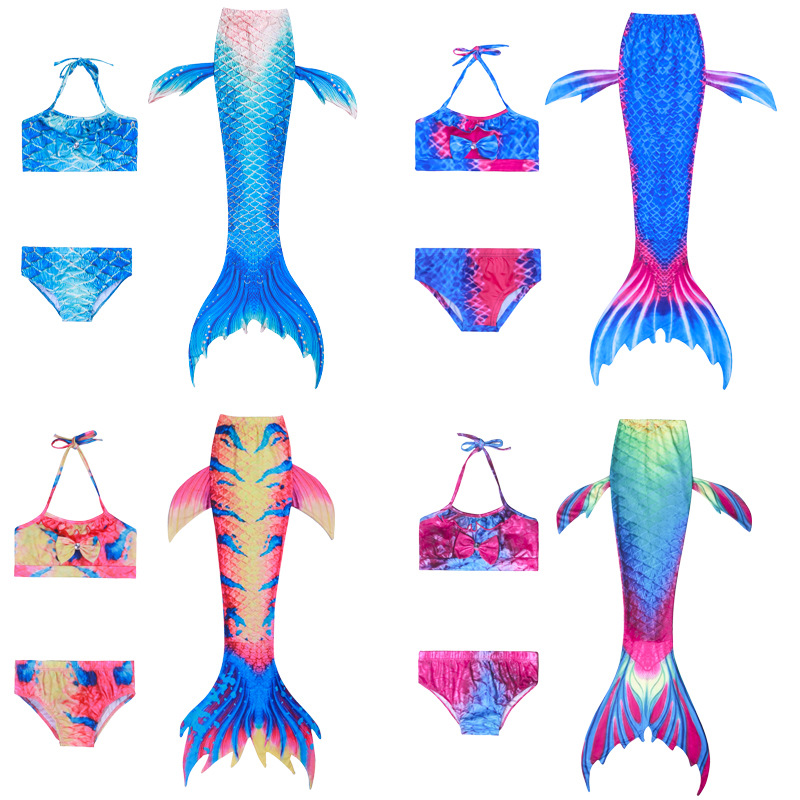 New Style Foreign Trade Mermaid Swimsuit Children Mermaid Tail Bathing Suit Three-piece Set Girls Mermaid Swimwear
