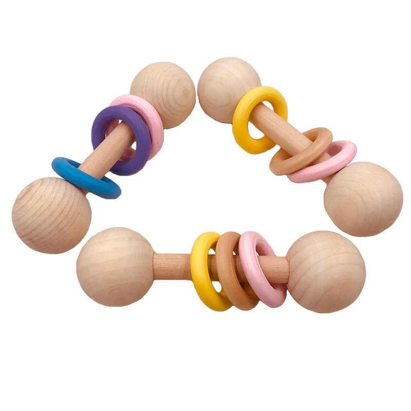Chocalhos de madeira para bebê, brinquedos de madeira com chocalhos, mordedor de madeira, acessórios de enfermagem para bebê, presente de chuveiro, anel de chocalhos