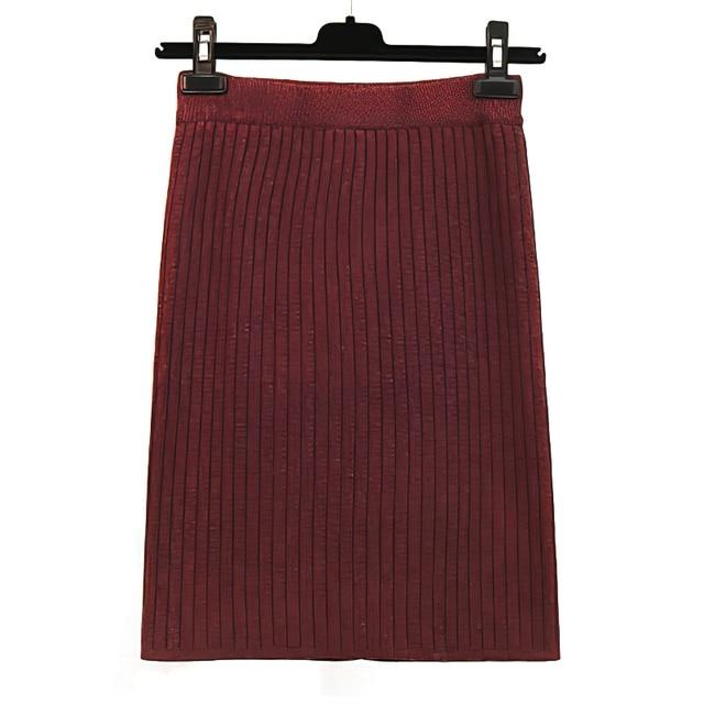 RICORIT Elastic Band Skirt Women Winter Knitted Skirt Female Straight Ribbed 50-70cm Mid-length Skirts 10 Multiple Color 4