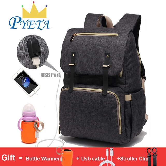 Baby Diaper Bag with USB Port Waterproof Nappy Backpack For Mummy Maternity Bags With Laptop Holder And Bottle Warmer