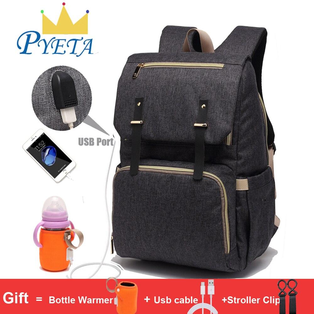 Bolsa de pañales para bebés con puerto USB bolsa de pañales impermeable mochila para madres bolsa de portátil bolsas de maternidad con portabotellas recargable
