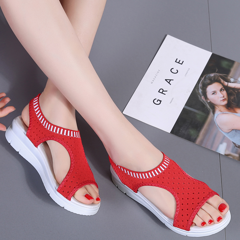 H3b74d3a427904574a5985b9f99ee24b7H - Sandals Women Fashion Breathable Comfort Ladies Sandals Summer Shoes wedge Black White Sandal