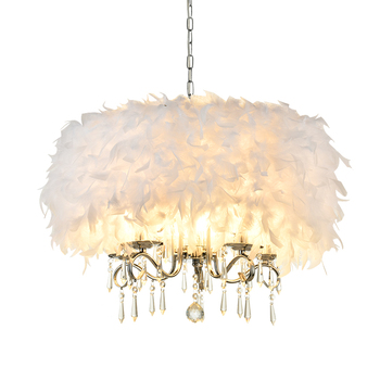 Concise Modern Bedroom Lamp Cozy Romantic Northern Europe Feather Lamp European Crystal A Chandelier Originality Personality
