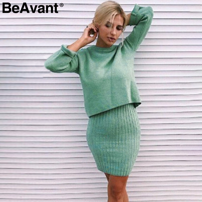 BeAvant Elegant 2 Pieces Women Dress Knitted Solid Slim Sleeveless Winter Dress Fashion Ladies Autumn Work Wear Sweater Suit