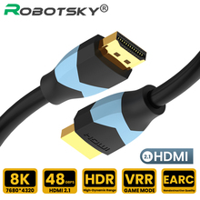 Robotsky HDMI 2.1 Cable 8K HDMI High Speed 8K 60Hz VRR HDR 48Gbps Cable HDMI Splitter Cable For Video PC Laptop TV Box PS4 DP