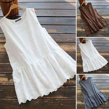 цена на Kaftan Summer Blouse Women's Sleeveless Shirts 2020 ZANZEA Casual Lace Patchwork Blusas Female Solid Tops Plus Size Tunic 5XL