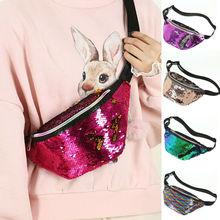 Women Waist Fanny Pack Holiday Money Belt Wallet Glitter Bum Bag Pouch Mermaid sequin pocket fish scale Multicolor Bags