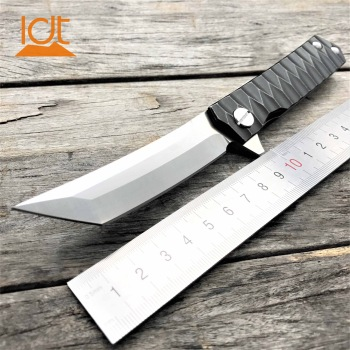 LDT Twosun Tanto Folding Knife D2 Blade Steel Handle Tactical Knives Camping Survival Hunting Pocket Flipper Knife EDC Tools 1