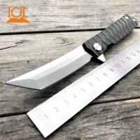 LDT Twosun Tanto cuchillo plegable D2 mango de acero cuchillos tácticos Camping supervivencia caza Flipper cuchillo EDC herramientas