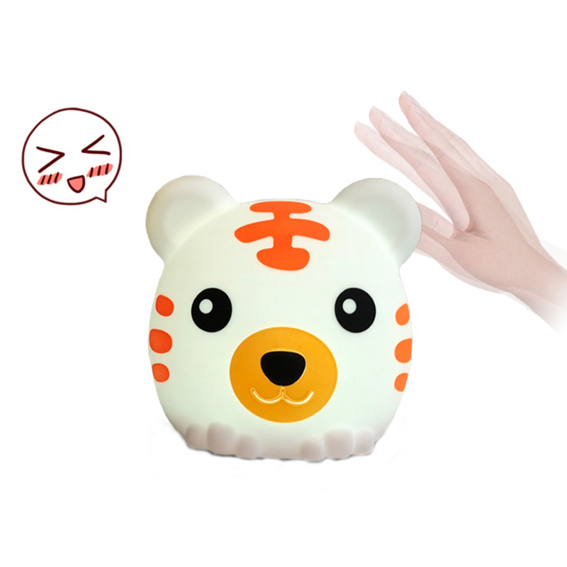 Touch Tiger Night Light 7 Colors Changed Multicolor Battery Table Lamp Silicone Animal Night Light Bedroom Decor For Baby Kids