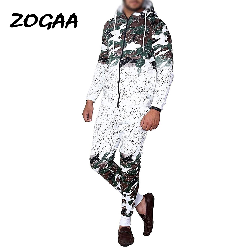 ZOGAA Autumn 2 Pieces Set Casual Work Wear Cardigan Hooded Sweatshirt Pants Suit Fashion Camouflage Print Male Hombre Tracksuit