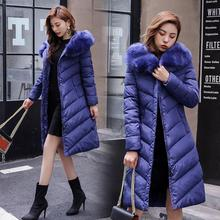 цены Winter women parka down cotton 2019 fashion large fur collar hooded cotton jacket Outwear slim long coats Jackets warm coat 4XL
