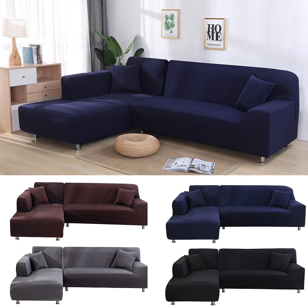 Solid Color Elastic Sofa Cover Spandex Modern Polyester Corner Sofa Covers Slipcover Sofa Protector 1/2/3/4 Seater