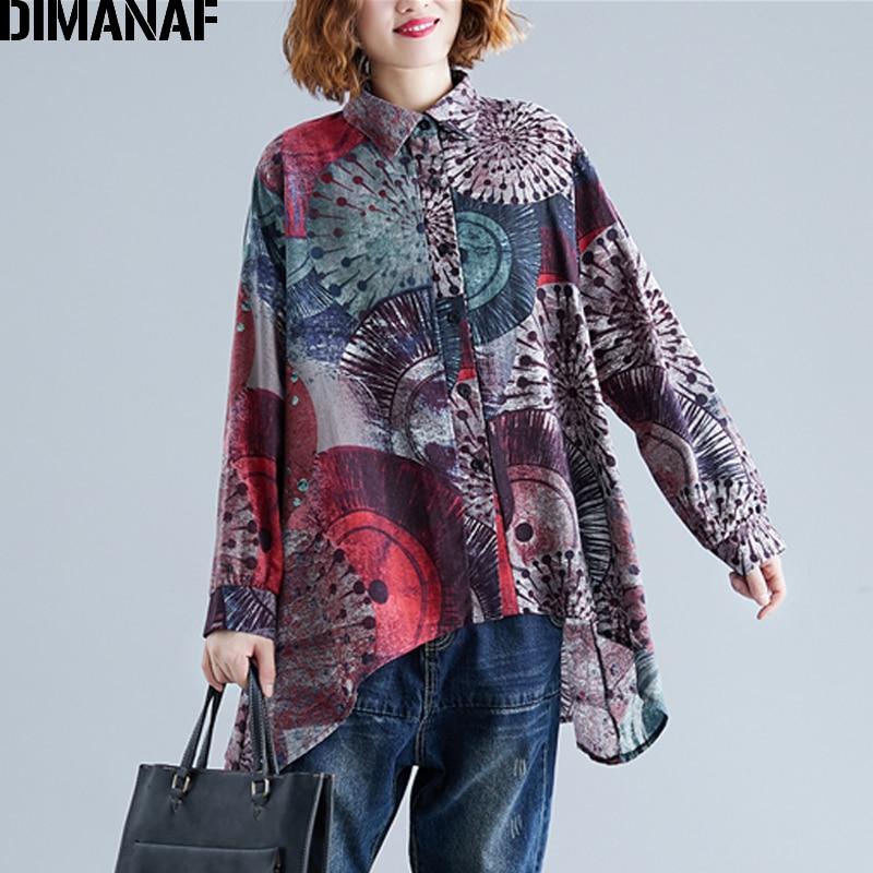 DIMANAF Plus Size Women Blouse Shirts Vintage Print 2019 Autumn Female Lady Tops Long Sleeve Loose Casual Clothes Cotton Thin