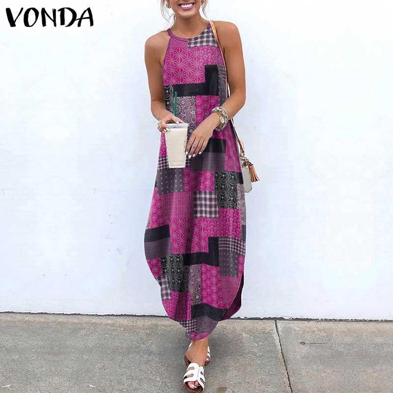 Summer Maxi Dress Women's Asymmetrical Sundress VONDA 2021 Fashion Split Halter Dresses Vestidos Female Casual Robe Femme S-5XL