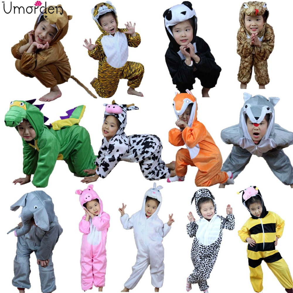 Umorden Barn Barn Dyrdrakt Cosplay Dinosaur Tiger Elefant Halloween Dyr Kostymer Jumpsuit for Boy Girl