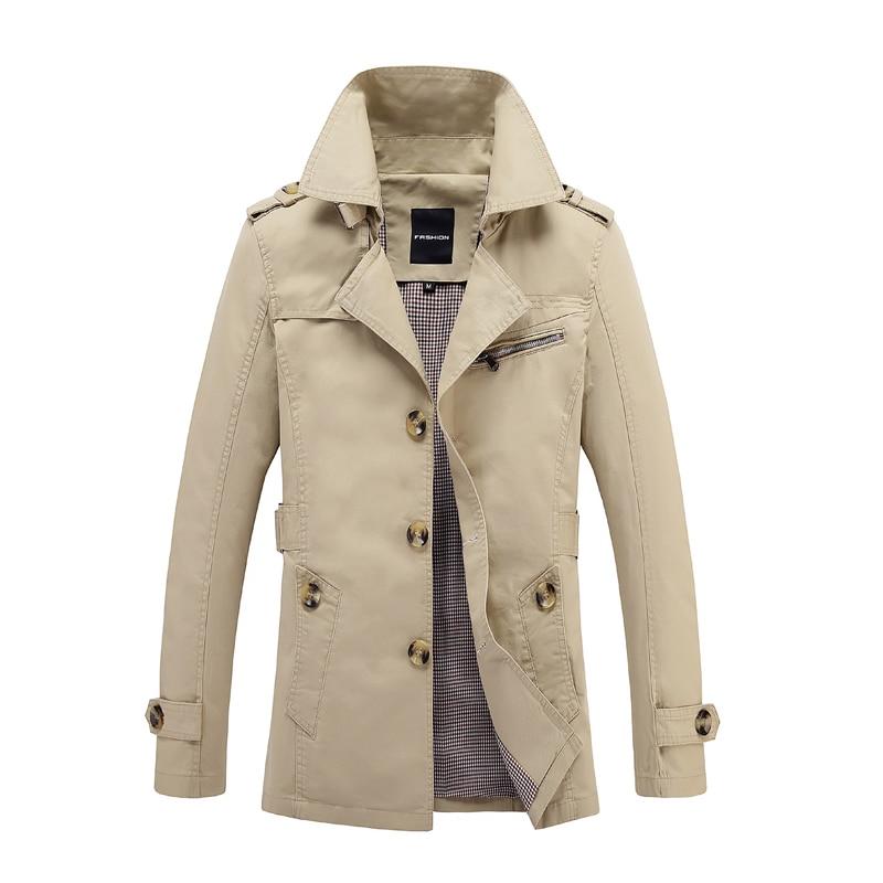 FAVOCENT 2019 Autumn Male Overcoat Long Jacket Coat Men Men's Trench Coat Trenchcoat Fashion Windbreaker Outwear Cotton M-5xl