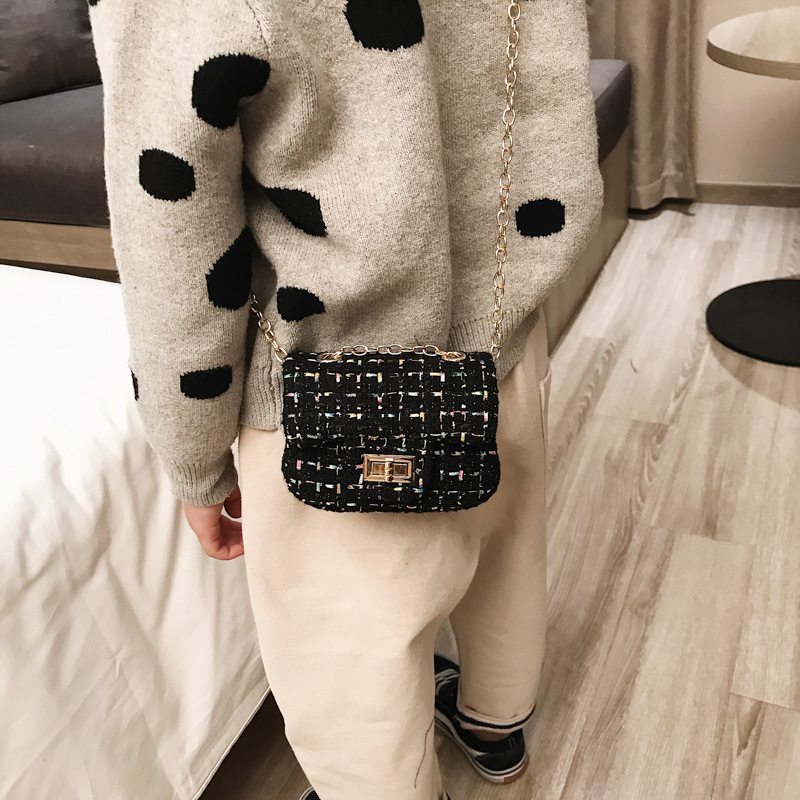 Korean-style Children's Bags Cute Girls Princess Accessories Bag Woolen Cloth Square Sling Bag Versatile Shoulder Cross-body Pur