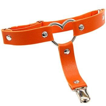 Women Punk Heart Sexy PU Leather Garter Belt Harajuku Elasticity Body Harness Tight Suspender Strap Leg Harness Bondage Belts 11