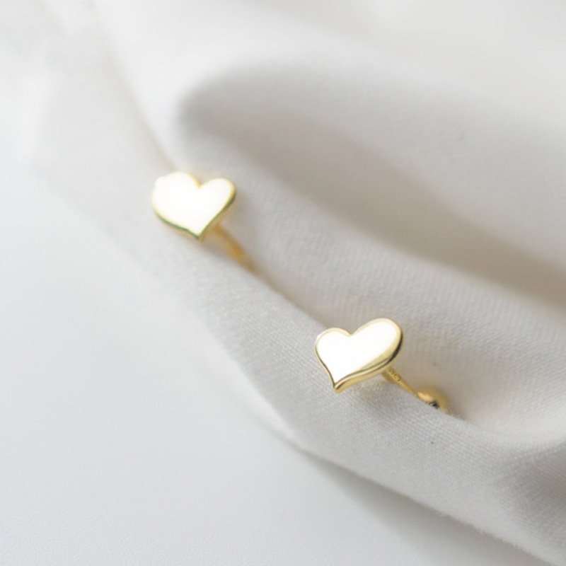Trust davis Real 925 en argent Sterling coeur vis boucles d'oreilles pour femmes enfants bébé filles enfants Mini minimaliste bijoux DA1979 5