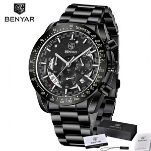 Image 5 - BENYAR Fashion Sport Watch Men Top Brand Luxury Black Male Chronograph Clock Military Stainless Steel Waterproof Wristwatch 5120