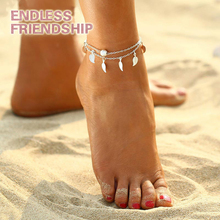 цены 2 Color Summer Beach Double Leaves Pendant Anklet Bohemian Handmade Beads Anklets Gothic Fashion Foot Jewelry