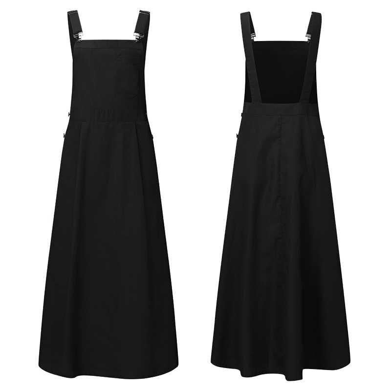 Vonda 솔리드 컬러 드레스 2020 여성 캐주얼 코튼 린넨 스퀘어 칼라 섹시한 민소매 맥시 드레스 플러스 사이즈 비치 sundress robe