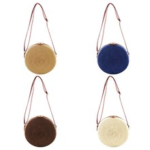 Fashion Beautiful Round Shape Women Crossbody Bag Retro Style Straw Woven Messenger