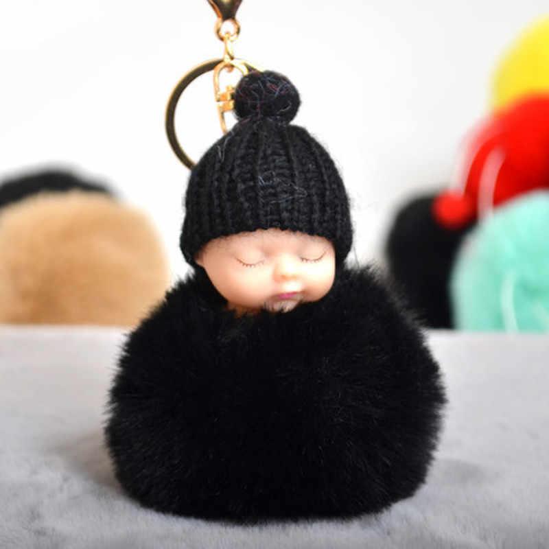 Bola de pele de coelho dormir bebê boneca chaveiro pompom chaveiro do carro chaveiro do bebê chaveiro feminino chaveiro saco pingente jóias