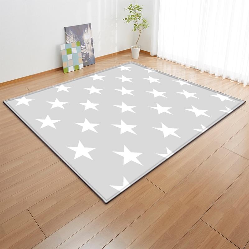 Modern Livingroom Anti-slip Flannel Area Rug Kids Room Floor Carpets Baby Play Crawling Stars Ripple Pattern Mat Rugs Carpet
