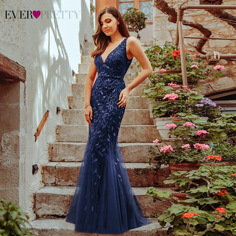 Burgundy Evening Dresses Ever Pretty EP07886 V-Neck Mermaid Sequined Formal Dresses Women Elegant Party Gowns Lange Jurk 2020 3