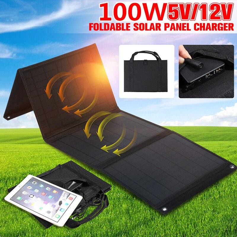 100 Вт складной Панели солнечные 12V/5V Портативный Батарея Зарядное устройство с двумя портами USB на открытом воздухе Водонепроницаемый Мощно