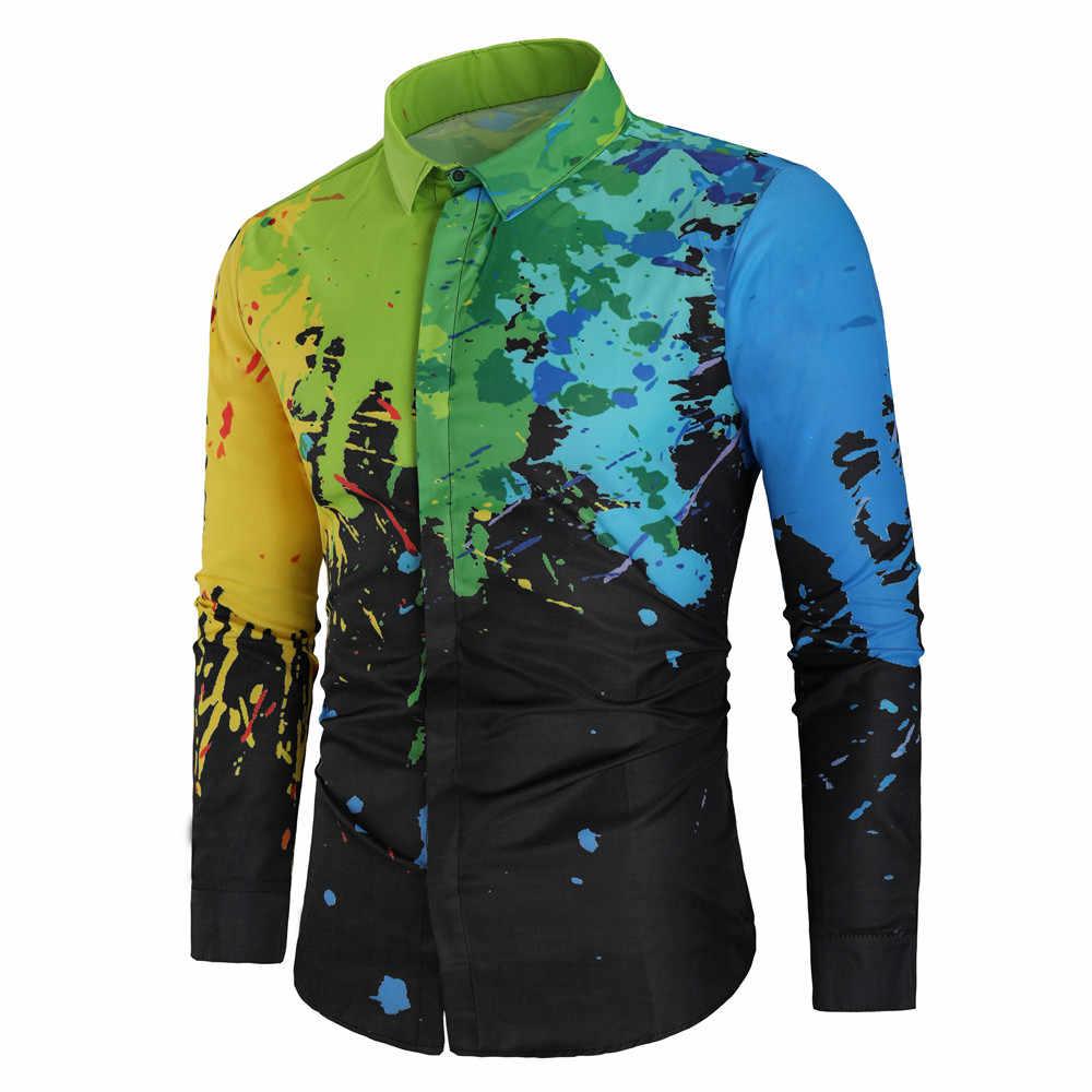 남자 복고풍 셔츠 2019 새로운 패션 디자인 캐주얼 셔츠 3d 인쇄 사회 긴 소매 슬림 맞는 셔츠