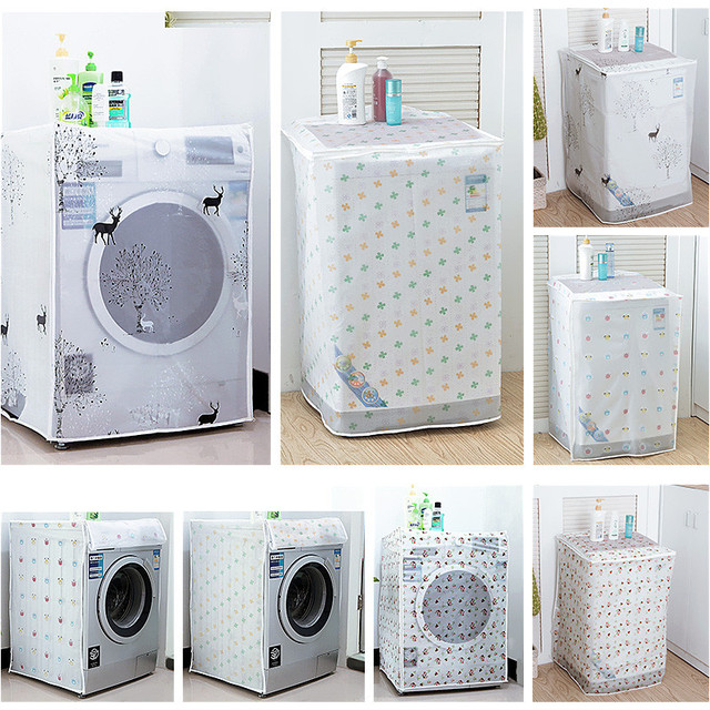 PEVA Sunscreen Dust Proof Cover Washing Machine Cover Waterproof Case Washing Machine Protective Dust Jacket Front Top Open 1PC 1