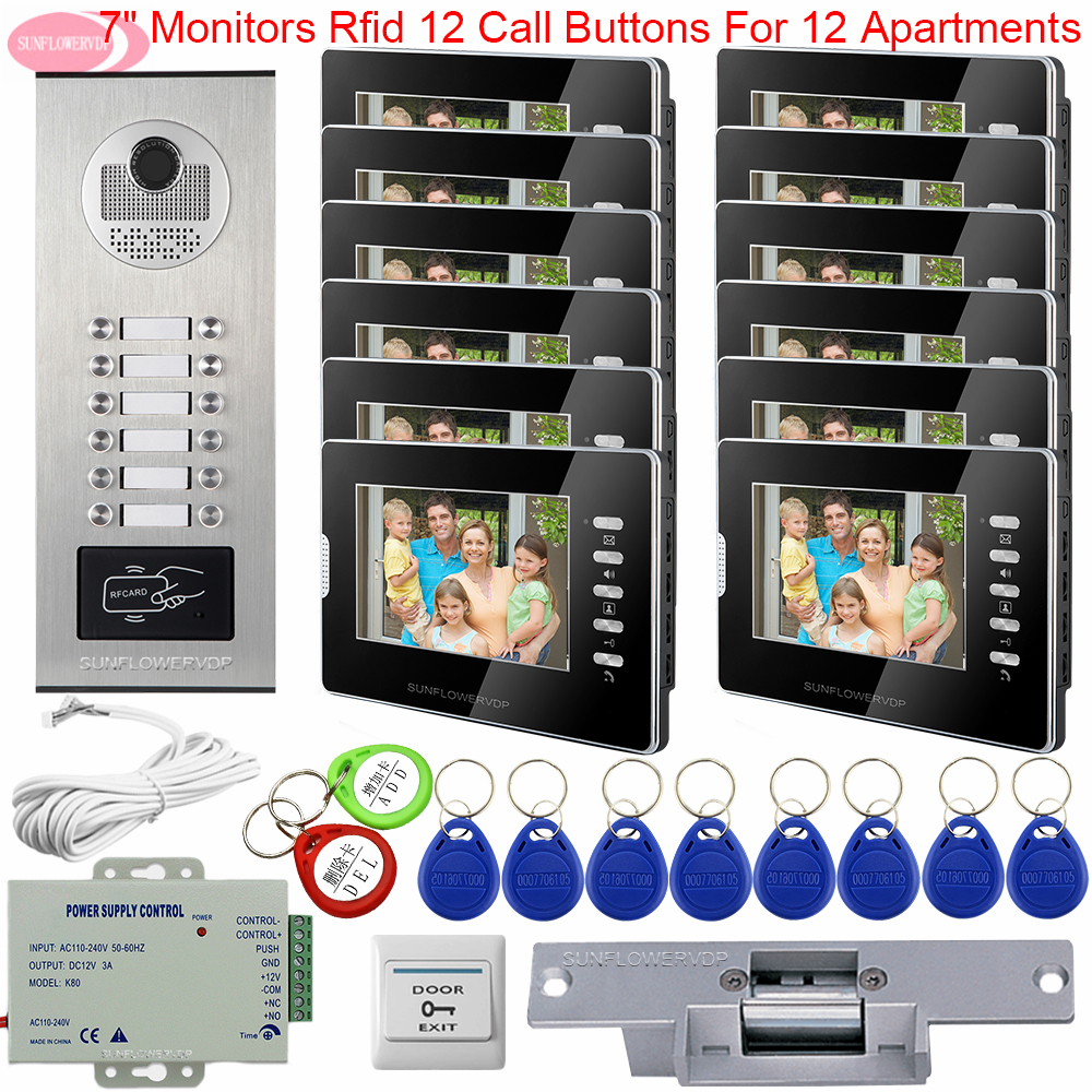 Video Intercom For Apartments 7inch White/Black Video Door Phone Monitors For Intercom Access Control + Electric Strike Lock Kit